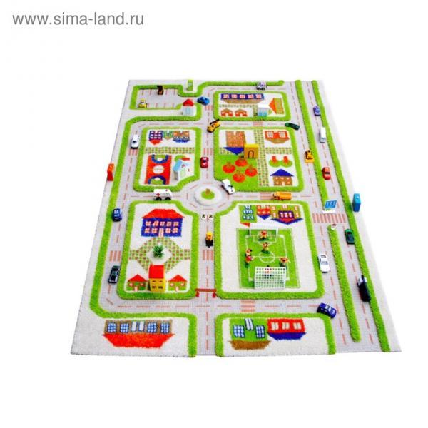 """Ковёр игровой """"Трафик"""", размер 100х150 см, цвет зелёный"""