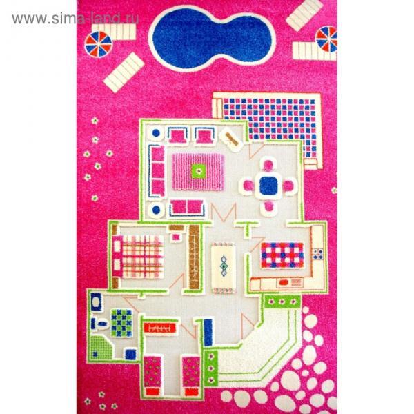 """Ковёр игровой """"Домик"""", размер 100х200 см, цвет розовый"""