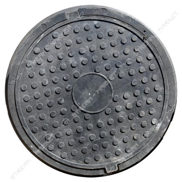 Люк Garden канализационный полимерпесчанный черный 4, 5т (диаметр крышки ф-620мм, высота люка h-95мм)