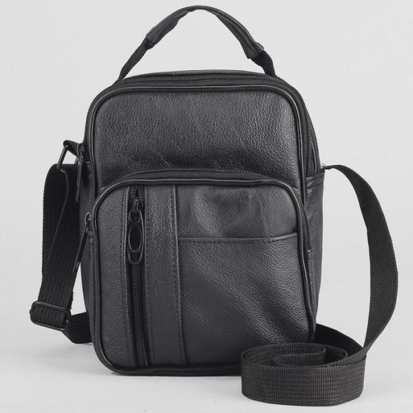 Сумка мужская, отдел на молнии, 4 наружных кармана, регулируемый ремень, цвет чёрный