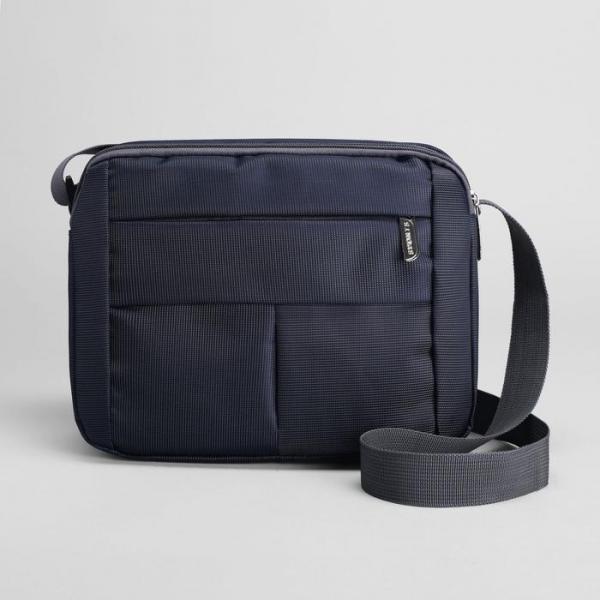Планшет мужской, 2 отдела, 2 наружных кармана, регулируемый ремень, цвет синий