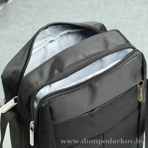 Фото ПОСМОТРЕТЬ ВЕСЬ КАТАЛОГ, Галантерея, Сумки мужские  Планшет мужской, 2 наружных кармана, регулируемый ремень, цвет чёрный