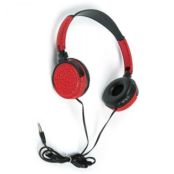 Наушники накладные LuazON LV-150, микрофон на проводе, красно/черные