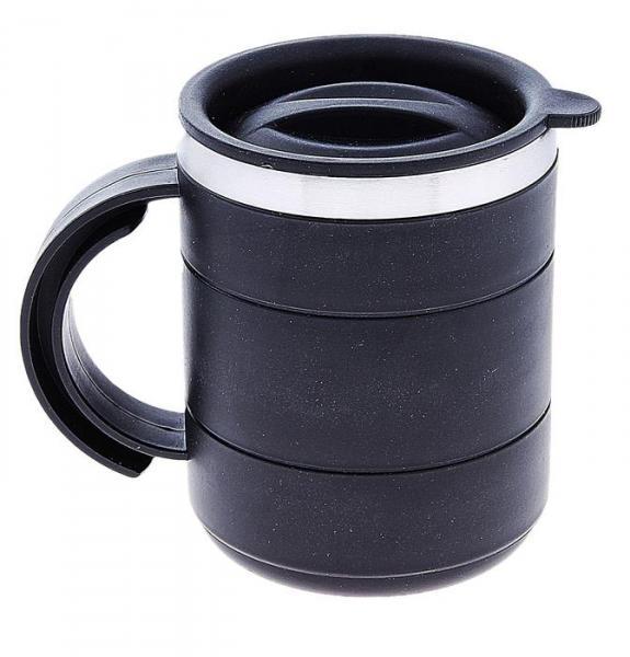 """Термокружка """"Каркан"""", 450 мл, чёрная, с крышкой, 12.5х10.5 см"""