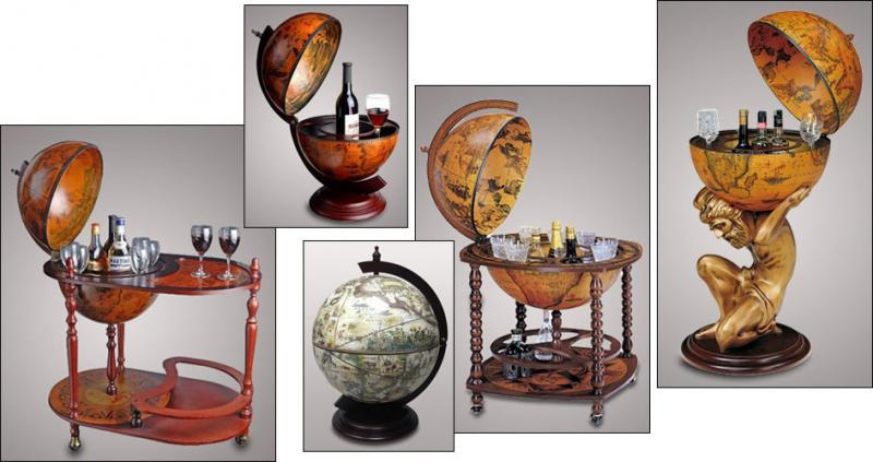 Глобус бар, подарок директору, сувенир, деревянный