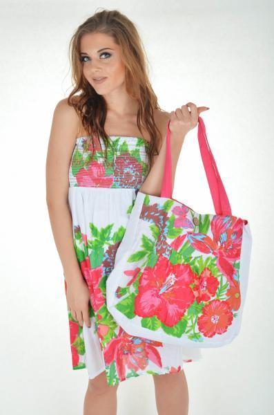 Белая пляжная сумка с цветами Iconique KA 4002 One Size Белый