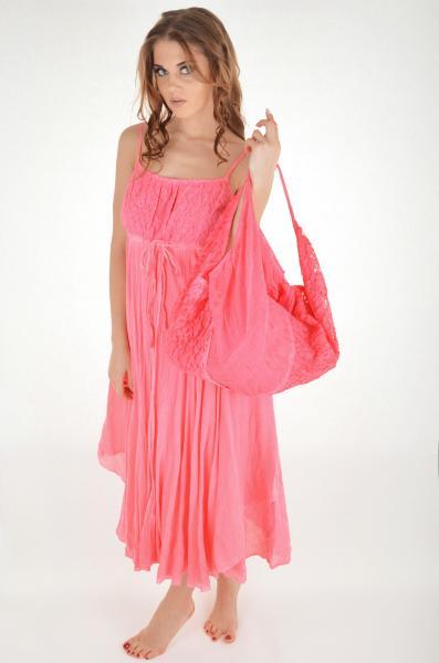 Большая мягкая пляжная сумка Iconique KF 5111 R One Size Розовый