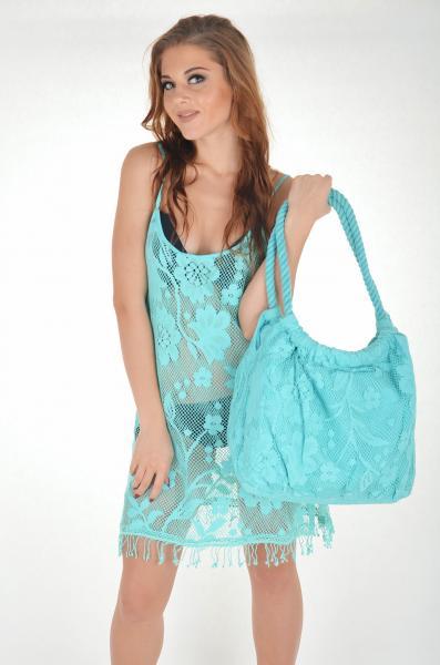 Большая кружевная пляжная сумка Iconique KH 611 A One Size Бирюзовый