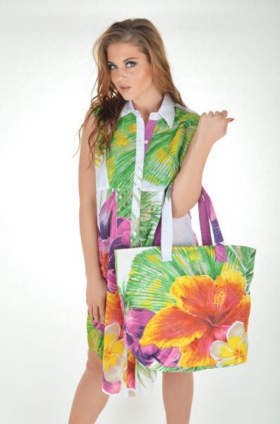 Большая пляжная сумка с цветами Iconique KN 611 One Size Фуксия