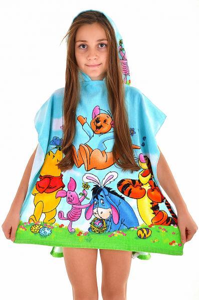 Детское пончо полотенце Ora Winne Pooh до 4х лет One Size Голубой