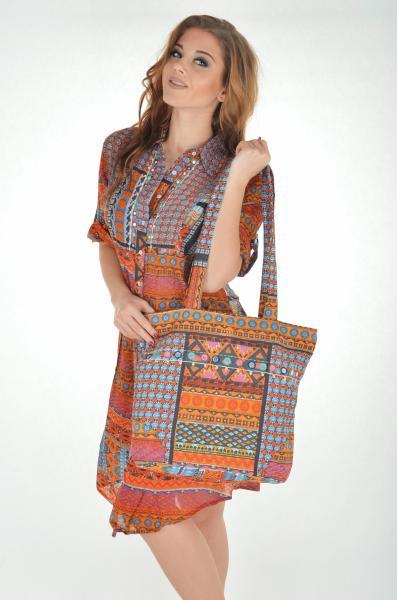 Большая пляжная сумка с вышивкой Iconique IC7 028 One Size Оранжевый