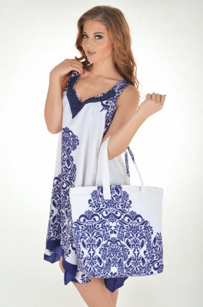 Белая пляжная сумка с рисунком Iconique IC7 094 One Size Синий-Белый