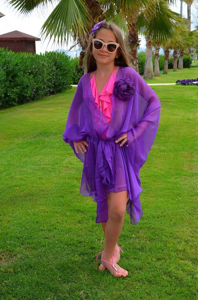 Детская накидка с поясом BAEL 5528 F 128 Фиолетовый