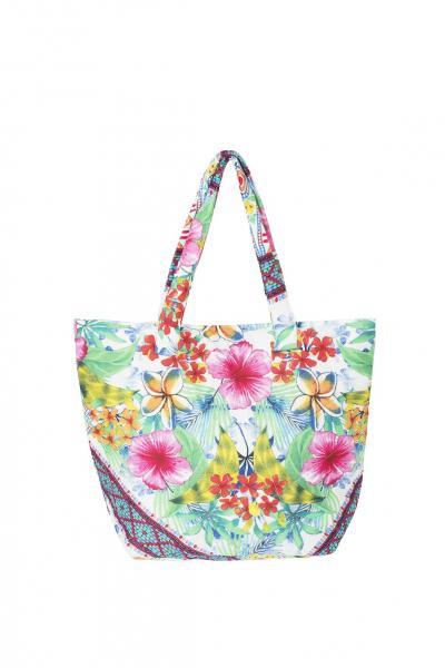 Белая пляжная сумка с цветами David DB8-012 One Size Цветной