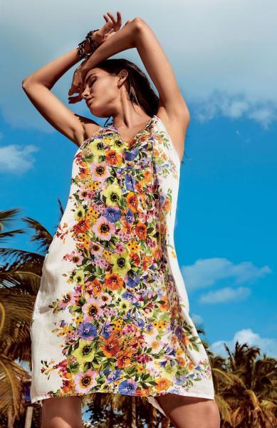 eb2b4b71c294 Широкое пляжное платье с цветами Iconique IC8-093 46(L) Белый ...