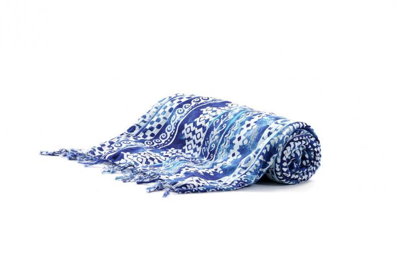 Пляжный коврик с махрой David DB9-044 One Size Синий-Белый