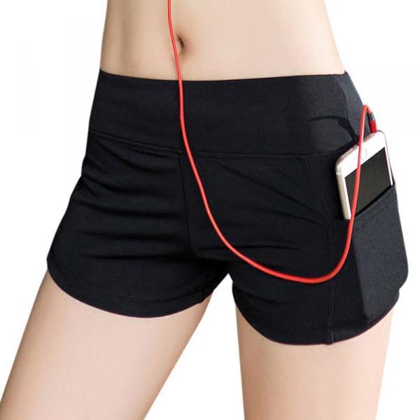 Женские спортивные шорты для фитнеса, 3 цветов, облегающие шортики, одежда для бега, йоги Черный