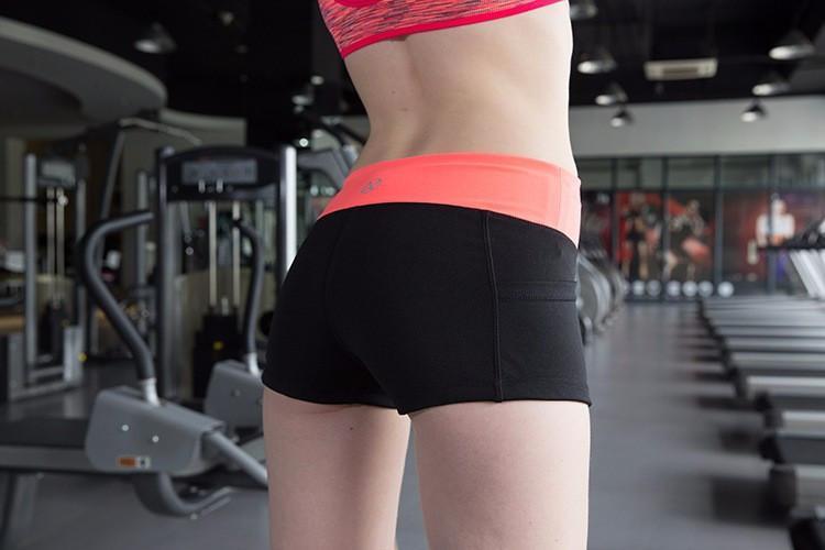 Женские спортивные шорты для фитнеса, 3 цветов, облегающие шортики, одежда для бега, йоги Оранжевый