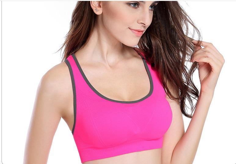 Спортивные женские топы для фитнеса, йоги, бега. 3 цвета. Топ, бра, топик, одежда, спортивный бюстгальтер розовый