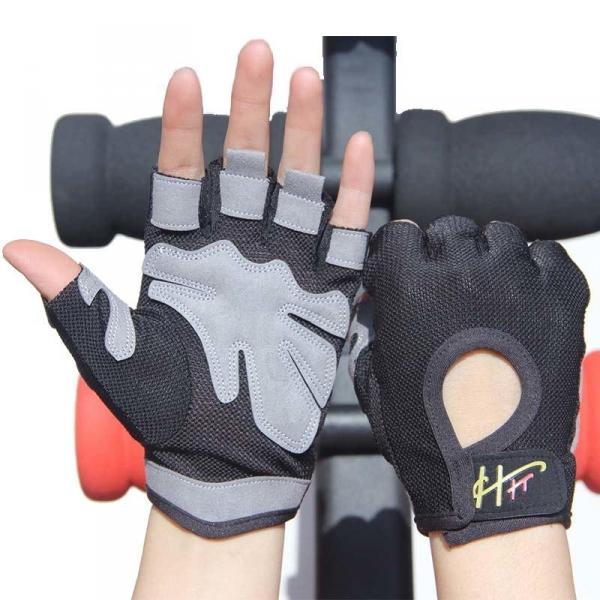 Спортивные женские перчатки, 3 цвета, для фитнеса, спортзала, бега, велосипедной прогулки с подушками  Черный