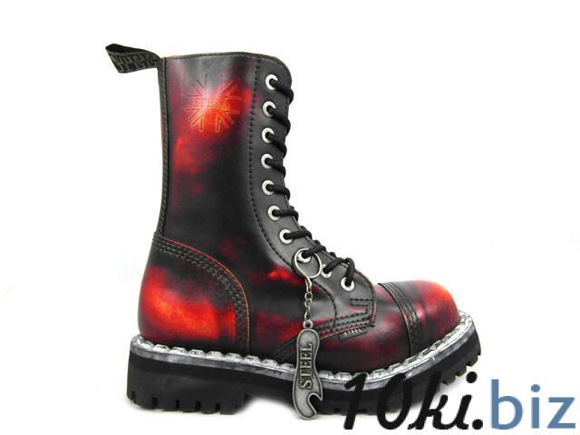 Ботинки STEEL 105/106/0 YBR10 дыр.чёрно-красные (кожа, стальной носок, шкіра, черевики) 36, цена фото купить в Киеве. Раздел Ботильоны, ботинки женские