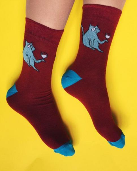Шкарпетки Soberay «Strange animals/Cat» Дивні тварини/Кіт(з вином)