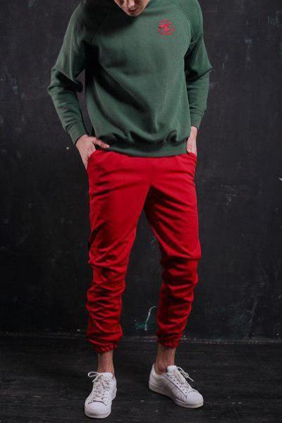 Мужские красные спортивные штаны от бренда ТУР, модель Рокки