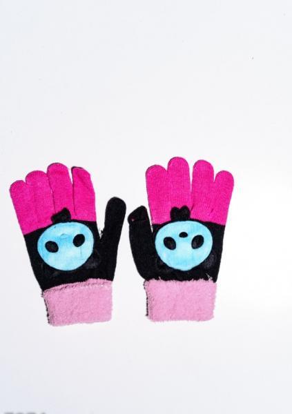 Детские перчатки и варежки ISSA PLUS 7874  Universal черный/розовый