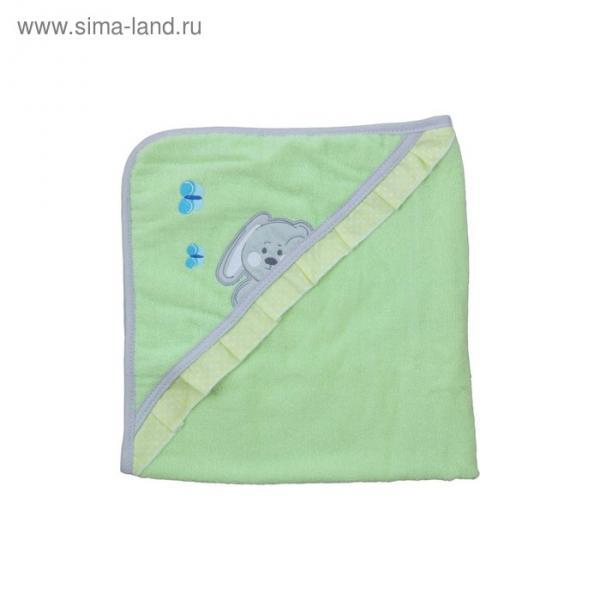 Набор для купания «Зайки», пелёнка 75х75 см, рукавичка, зелёный