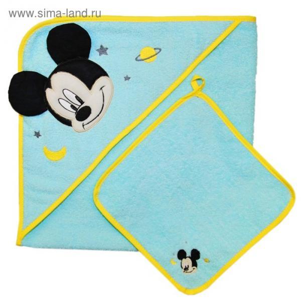 Набор для купания «Микки Маус», пелёнка 75х75 см, рукавичка, бирюзовый