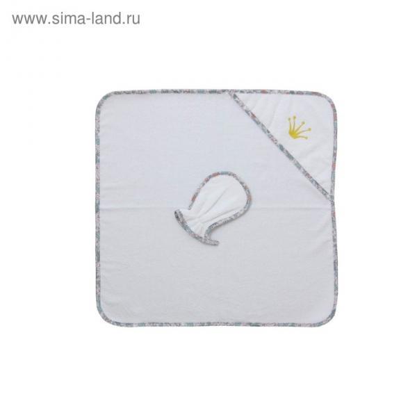 Набор для купания «Последний богатырь», пелёнка 75х75 см, рукавичка, белый