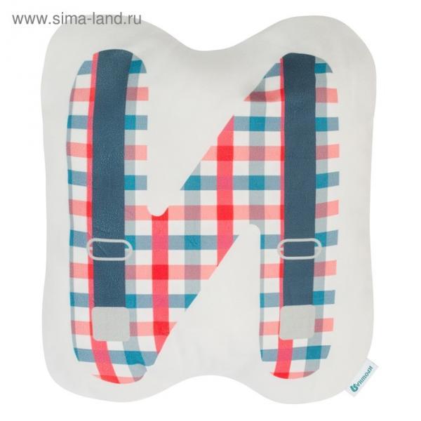"""Подушка """"Крошка Я"""" И, 40х35 см, синий, велюр, 100% п/э"""