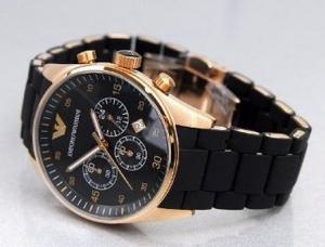 Фото Подарки, Подарки для мужчин Наручные часы Emporio Armani Silicone Gold-Black