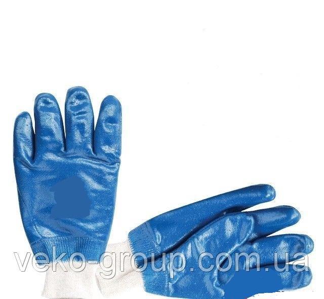 Рукавицы рабочие нитриловые синие с мягким манжетом