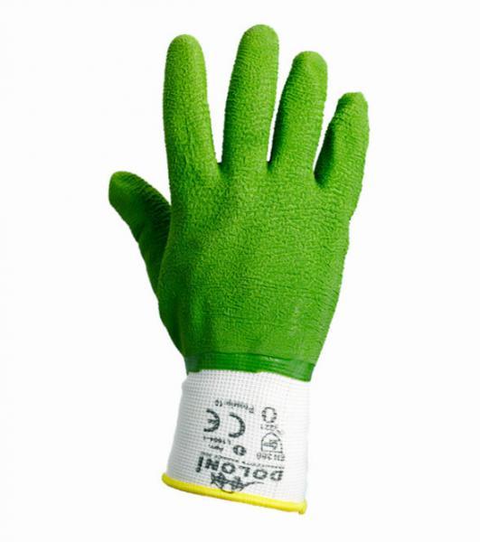 Перчатки  рабочие DOLONI  нейлоновые (вспененный зелёный латекс)