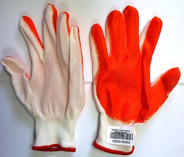 Перчатки рабочие стрейчевые обрезиненные