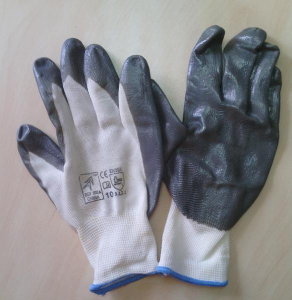 Перчатки рабочие нейлоновые, гладкий серый нитрил