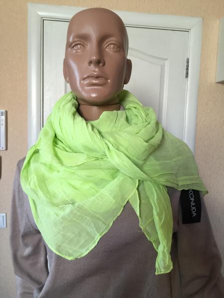 Женский шарф летний жатый салатовый  ASHMA
