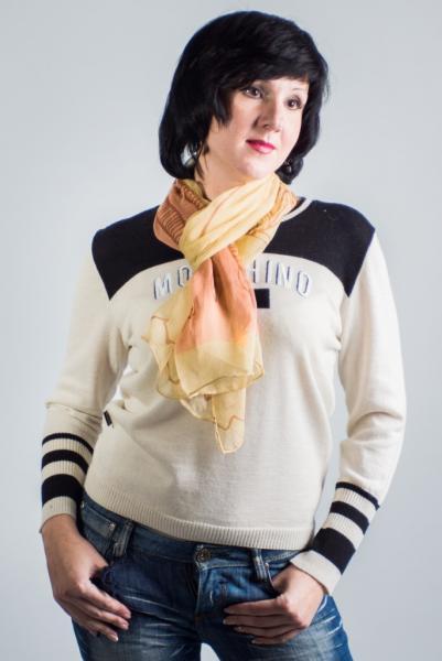Женский шарф шелковый бежевый летний  ASHMA