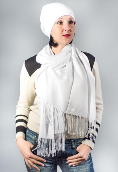 Женский шарф-палантин белый весна-осень  ASHMA