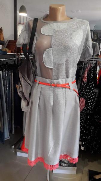 Женская юбка дизайнерская летняя серая до колена