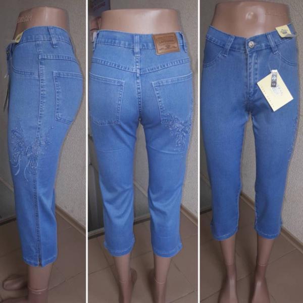 Бриджы женские джинсовые с вышивкой размеры: 25,26,27,28,29,30