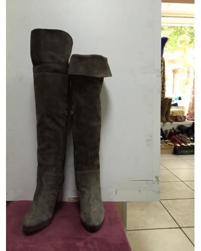 Сапоги-ботфорты женские длинные замшевые  демисезонные  цвета капучино  Vero cuoio