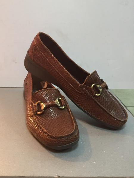 Туфли-мокасины женские коричневые на небольшой танкетке Hush Puppies