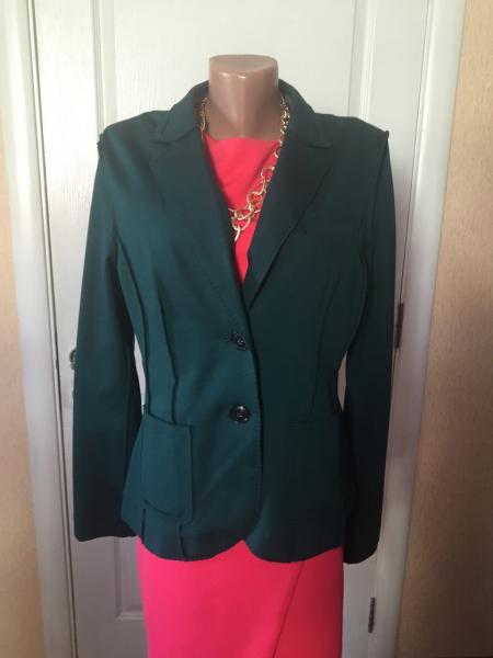 Пиджак женский приталенный черный зеленый длинный рукав весна-лето-осень S.Oliver XL
