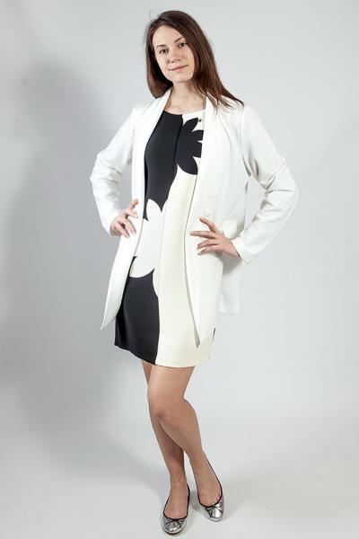 Пиджак - кардиган  женский  длинный белый деловой нарядный большой размер  Rinascimеnto