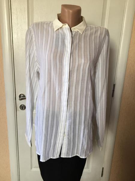 Рубашка женская  длинный рукав   светлая  легкая натуральная  Massimo Dutti  40