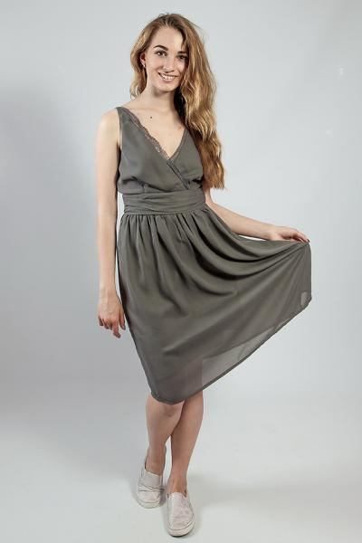 Женское  платье - сарафан серый летний на бретелях коктельное VERO MODA