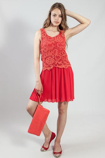 Платье  женское  летнее короткое коралловое  коктельное выпускное Rinascimento