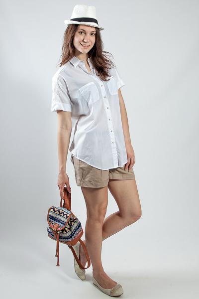 Рубашка женская   белая  короткий рукав Massimo Dutti